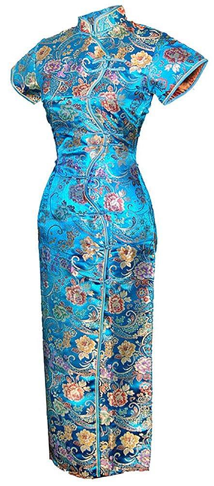 7Fairy Women's Vtg Turquoise Ten Buttons Long Chinese Dress Cheongsam 1102808