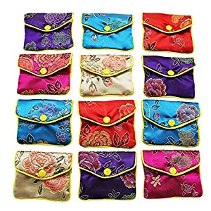 MorTime Jewellery Jewelry Silk Purse Pouch Gift Bags, Multiple Colors, Pack of 12