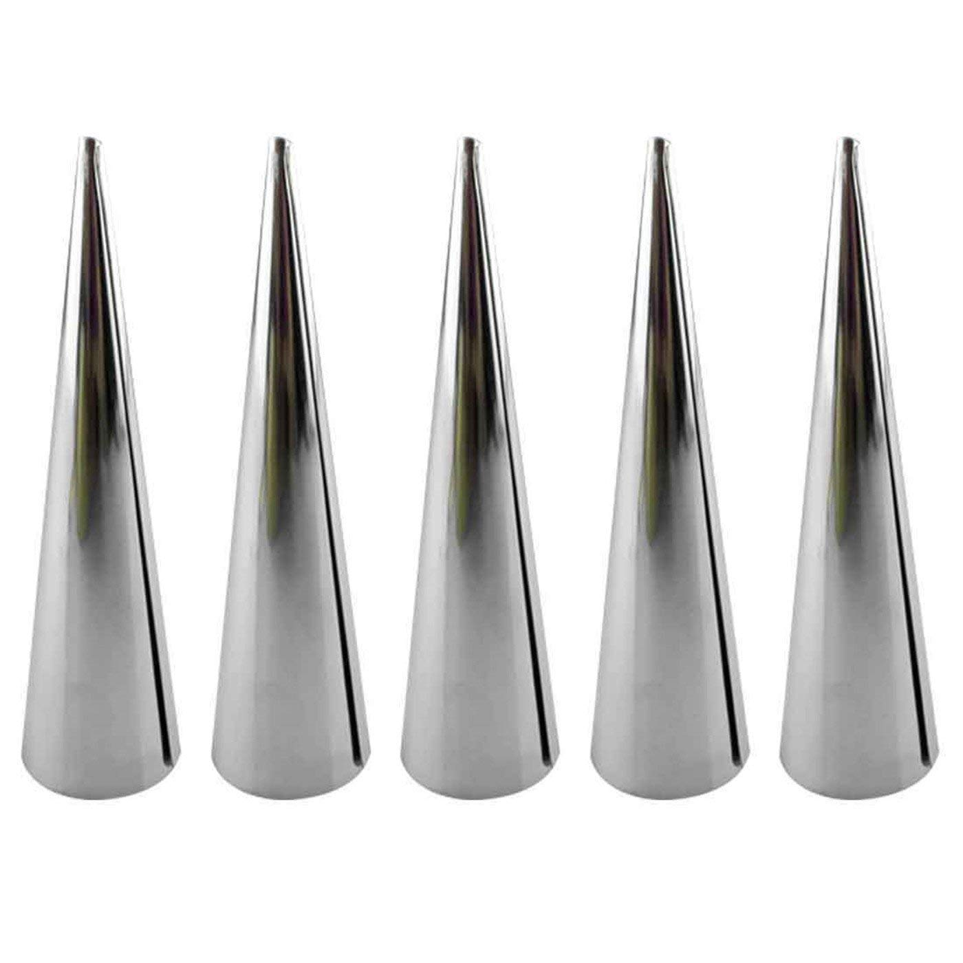 5pcs/lot Baking Cones Stainless Steel Spiral Croissant Tubes Horn bread Pastry making Cake Mold baking supplies (M)