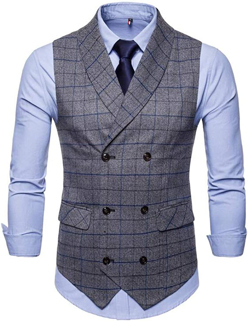 Bigbarry Mens Classic Plaid Double-Breasted Casual Shawl Collar Suit Vest