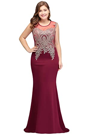 MisShow Women Sleeveless Formal Evening Gowns Long Mermaid Lace Dress Burgundy 14W