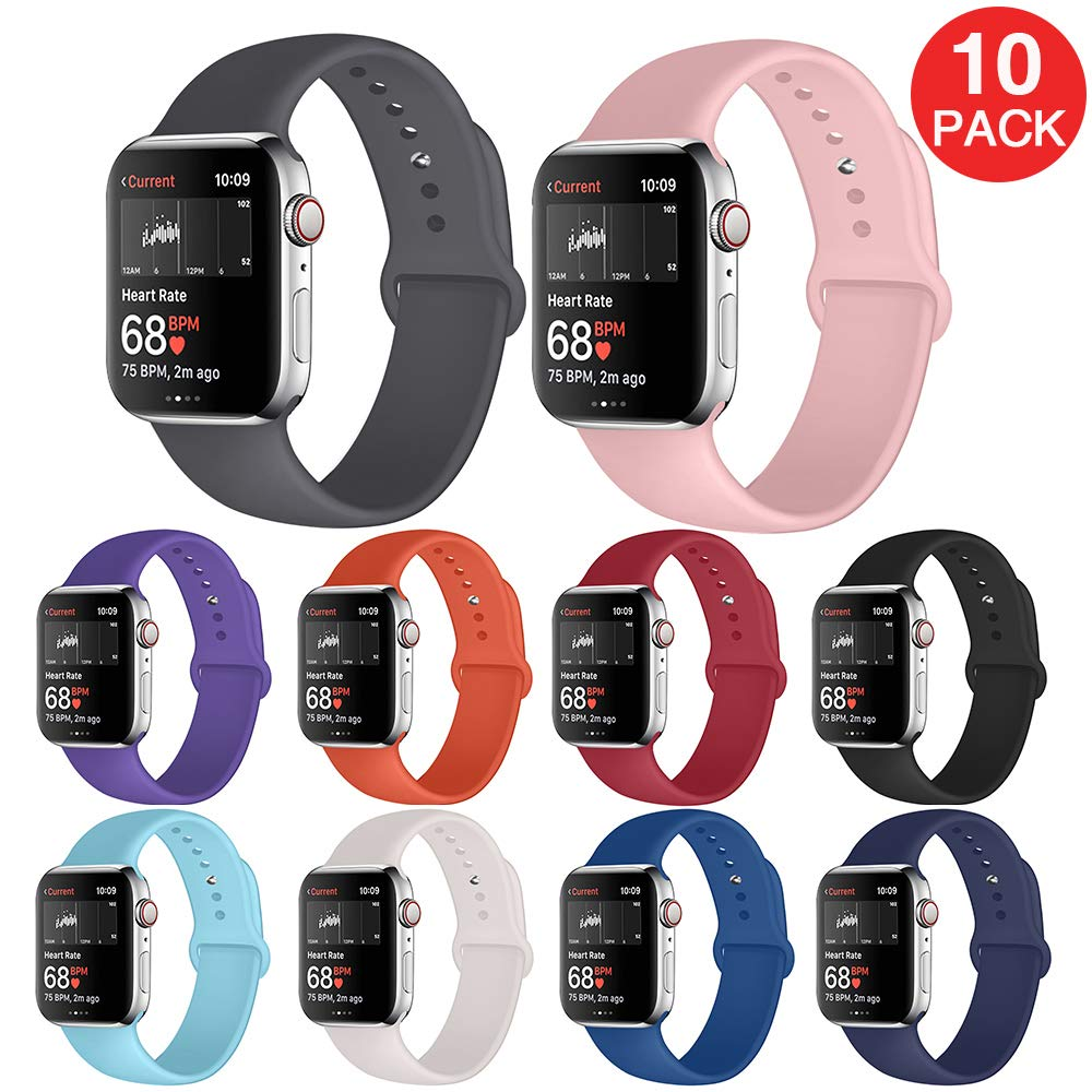 Kaome Compatible with Apple Watch Band 40mm 38mm,Soft Strap Sport Band for iWatch Apple Watch Series 4, Series 3, Series 2, and Series 1(S/M,10 Pack)