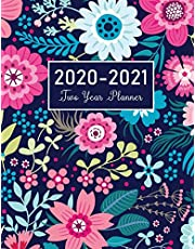 2020-2021 Two Year Planner: Flower Watecolor Cover | 2 Year Calendar 2020-2021 Monthly | 24 Months Agenda Planner with Holiday | Personal Appointment Book | Academic Schedule Organizer Logbook and Journal Notebook