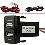Dual Port USB Car Charger with Audio Socket USB Charging for Digital Cameras/Mobile Devices for Toyota