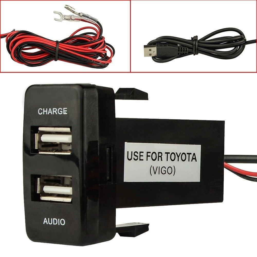 Cargador de Coche USB de Doble Puerto con Toma de Audio USB de Carga para c/ámaras Digitales//Dispositivos m/óviles para Toyota