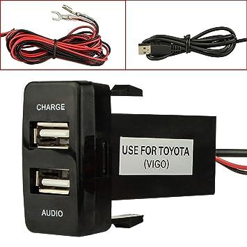 Cargador de Coche USB de Doble Puerto con Toma de Audio USB de Carga para cámaras Digitales/Dispositivos móviles para Toyota