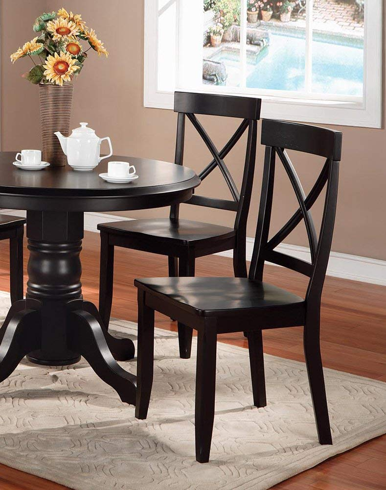 Classic Black Pair of Dining Chairs by Home Styles by Home Styles