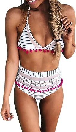 Women Summer Swimwear Bikini Set High Waist Swimsuit Tassel Swimwear Bathing