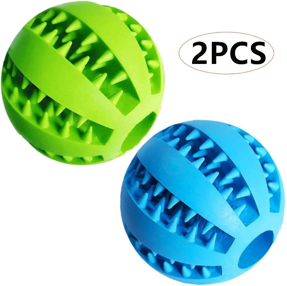 "Dog Treat Toy Ball, Dog Tooth Cleaning Toy, Interactive Dog Toys(1 Green+1 Blue) 2.8"" Pack of 2"