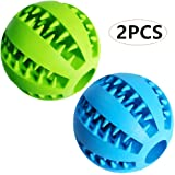 """Dog Treat Toy Ball, Dog Tooth Cleaning Toy, Interactive Dog Toys(1 Green+1 Blue) 2.8"""" Pack of 2"""