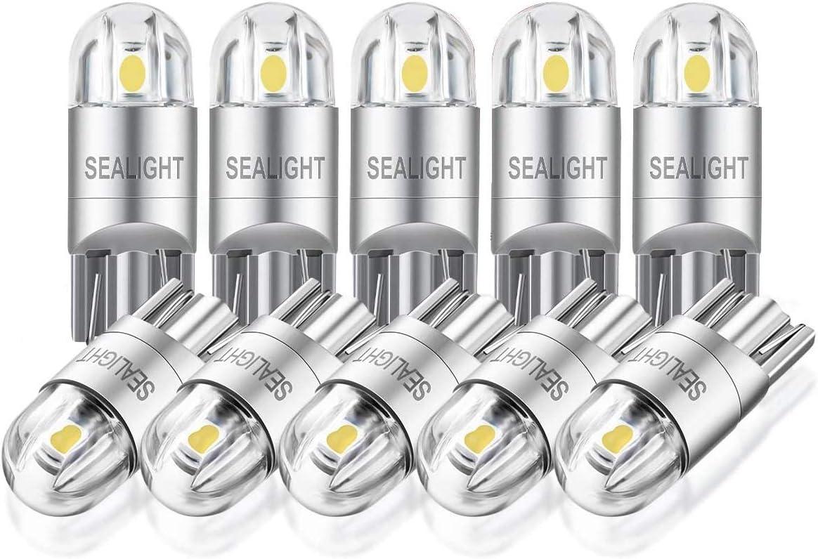 SEALIGHT 194 LED Bulb, 168 2825 T10 W5W LED Bulbs, 6000K White, Bright 3030 LED Chips, Dome Light, Map Light, Door Light, Courtesy Light, License Plate Lights