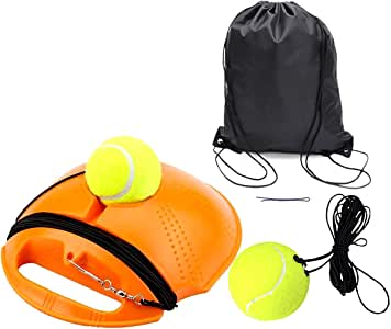 Solo Tennis Trainer | Tennis Buddy | Tennis Drills Equipment | Tennis Backboard and Rebounder | Tether Tennis Rebound Ball with Extra Ball and String and Storage Bags (Orange)