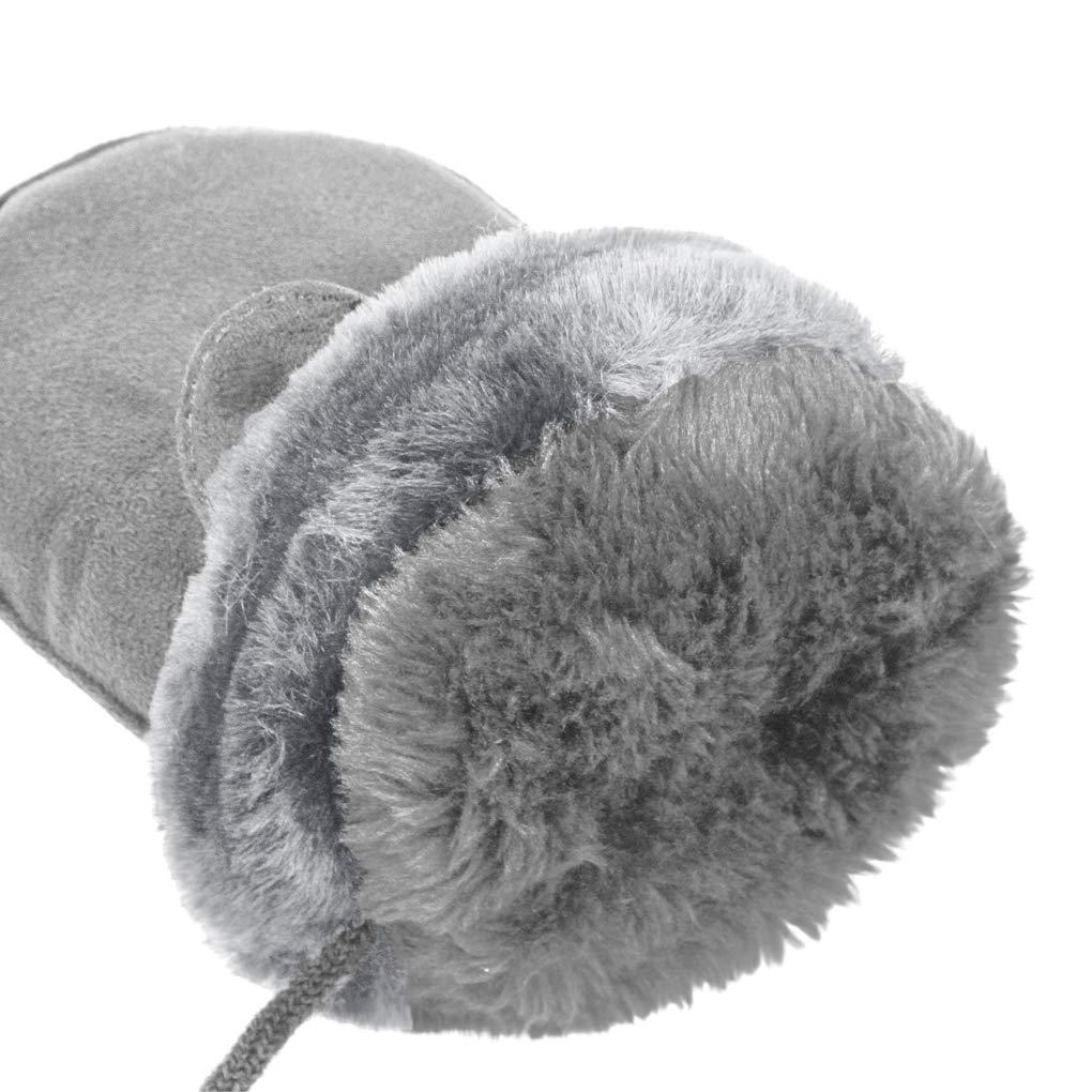 Kids Winter Warm Suede Gloves Boys Girls Thick Fur Fleece Lined Magic Ski Gloves