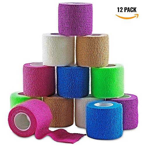Splints Aid First (MEDca Self Adherent Cohesive Wrap Bandages 2 Inches X 5 Yards 12 Count with Strong Elastic and Colorful First Aid Tape for Sprain Swelling and Sorenes (Rainbow Color))