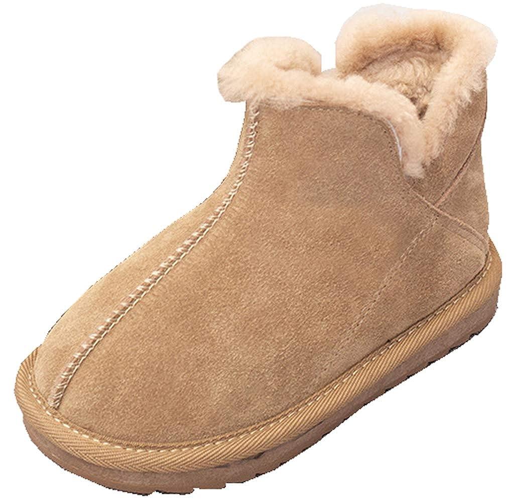 VECJUNIA Girls Casual Winter Boots Lightweight Fleeced Ankle Booties Slip-On Shoes