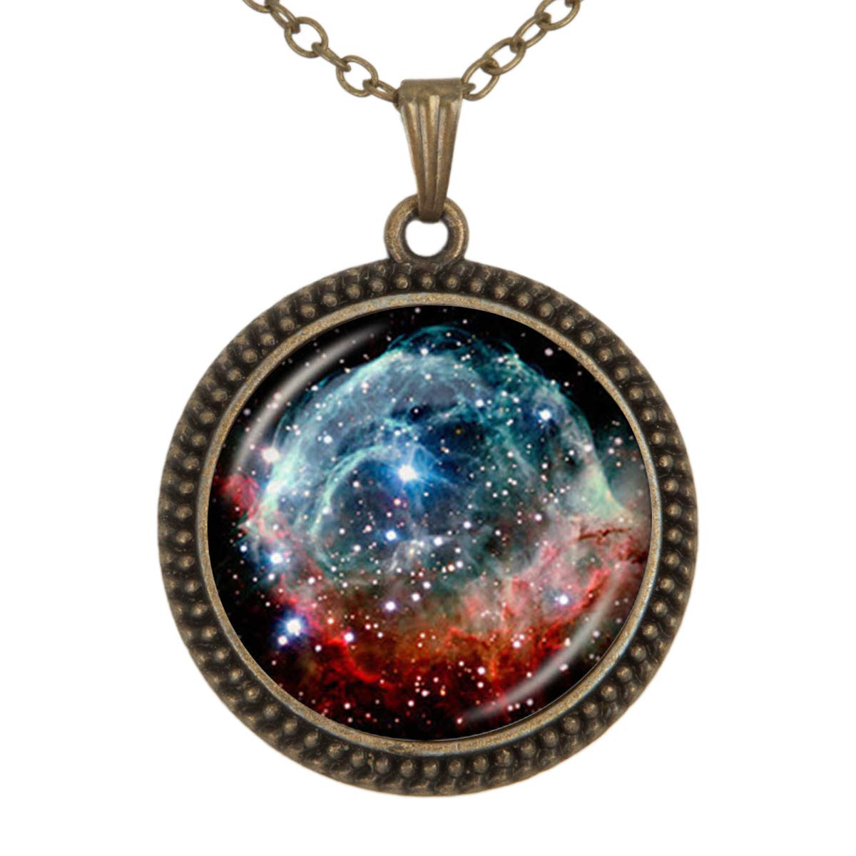 Beautiful Starry Night Pendant Necklace Vintage Bronze Chain Statement Necklace Handmade Jewelry Gifts
