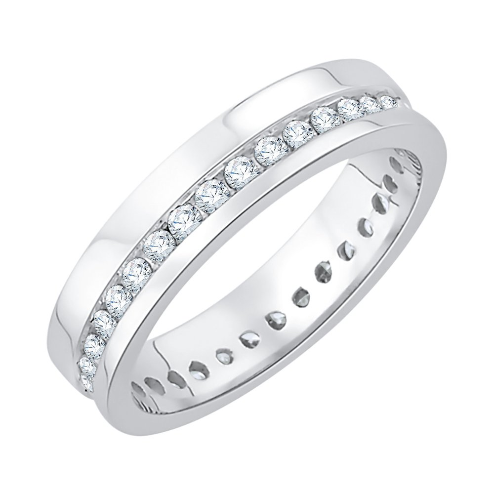 Diamond Eternity Band in Sterling Silver (1/2 cttw) (GH-Color, I2/I3-Clarity) (Size-9.75)