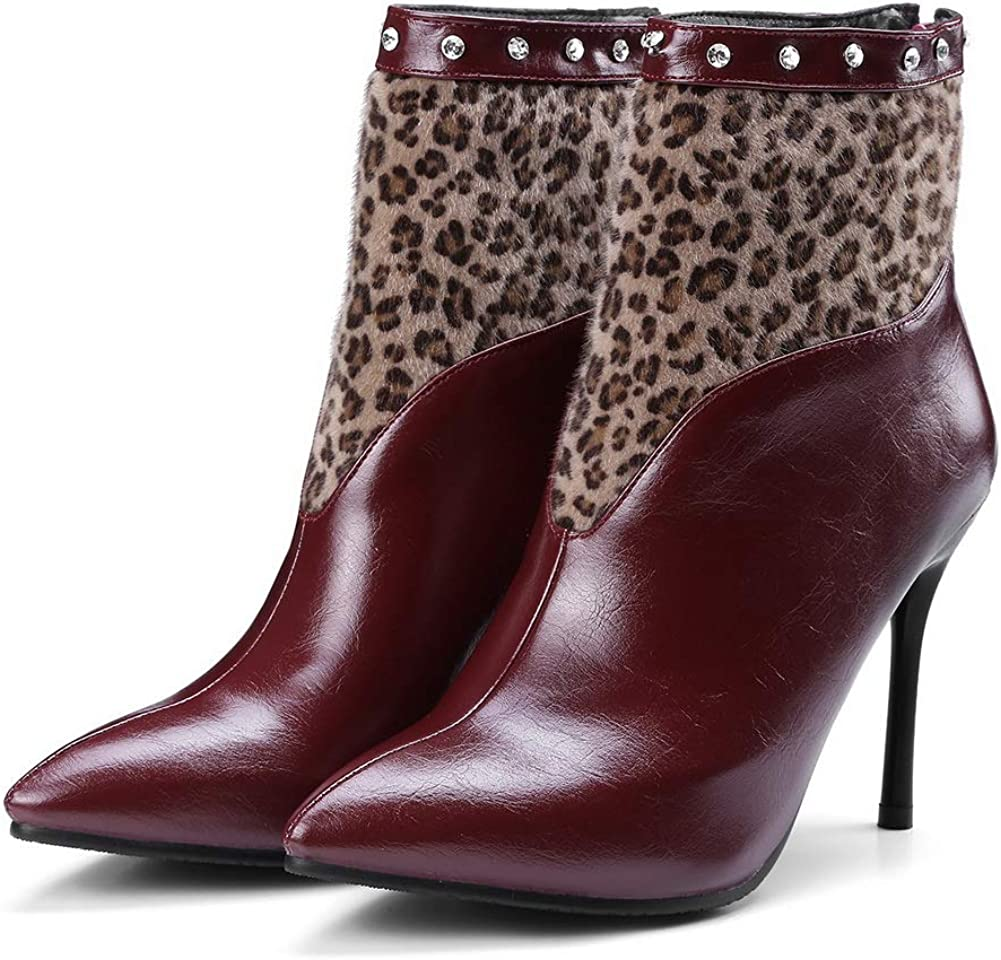 AN Womens Spikes Stilettos Pointed-Toe Assorted Colors Urethane Boots DKU02357