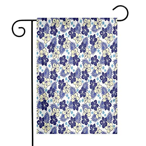 Mannwarehouse Hawaii Garden Flag Tropical Climate Foliage Hibiscus Abstract Nature Exotic Plumeria Premium Material W12 x L18 Indigo Pale Yellow Pale Blue]()
