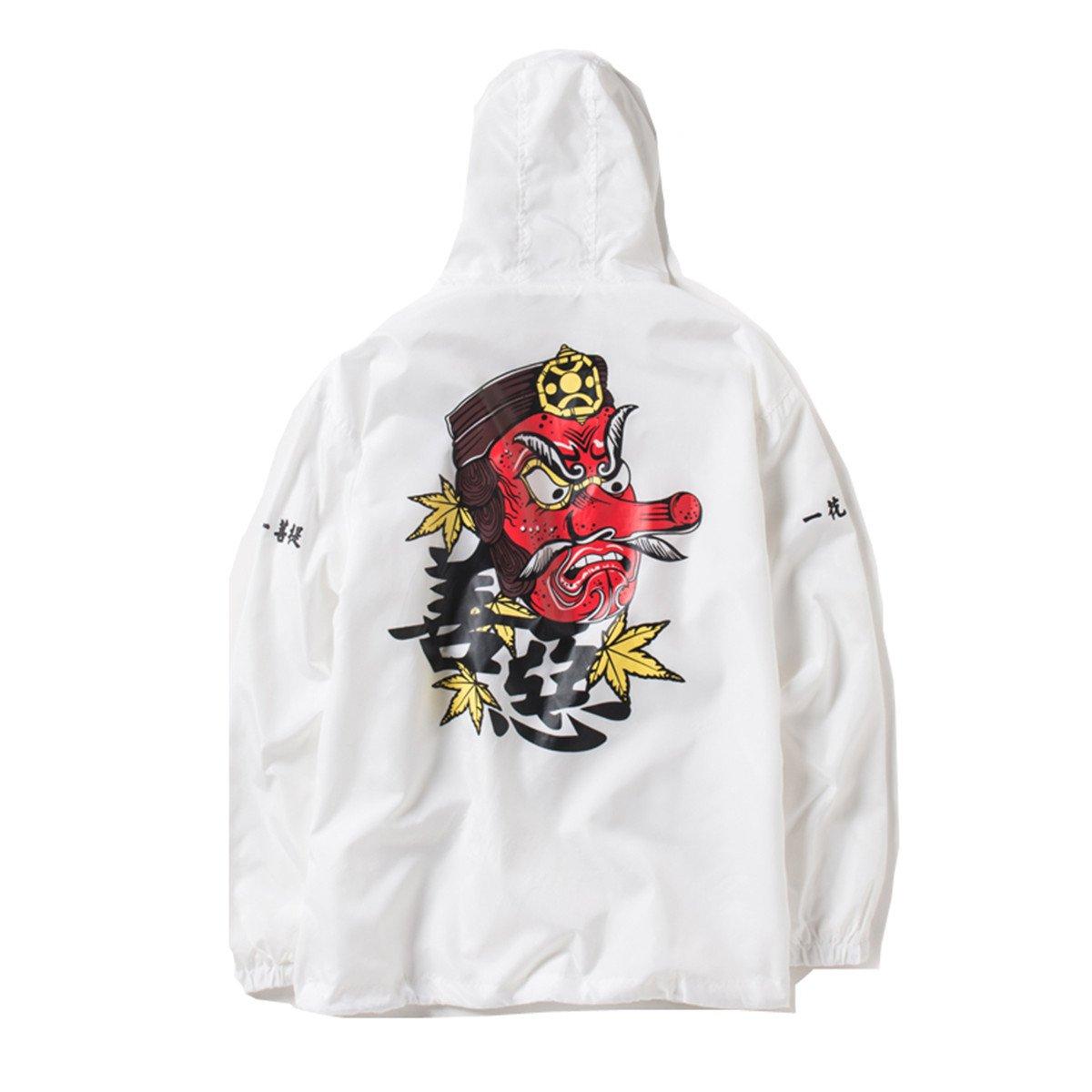 PERDONTOO Men's Outdoor Windproof Hoodie Zip-up Lightweight Windbreaker College Jacket (Small, White)