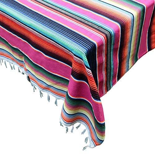 OurWarm 59 x 84 inch Mexican Blanket Tablecloth for Mexican Wedding Party Decorations, Large Square Cotton Mexican Serape Table Cloth by OurWarm (Image #6)