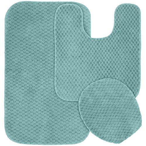 Garland Rug 3-Piece Cabernet Nylon Washable Bathroom Rug Set, Seafoam (Kohls Garland)