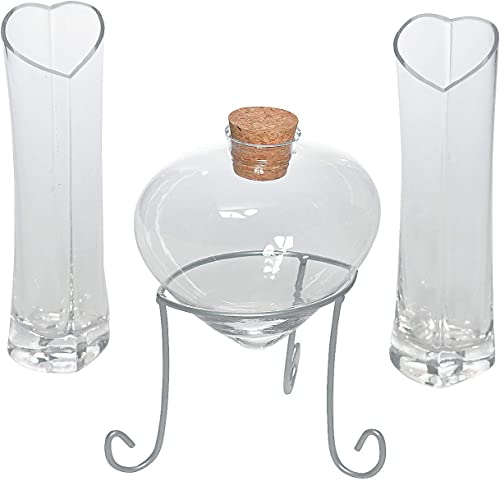 Heart Shaped Glass Sand Ceremony Set 4 piece kit Includes heart bottle with cork, vases and a metal stand