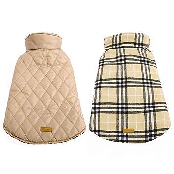 Kuoser Cozy Waterproof Windproof Reversible British Style Plaid Dog Vest Winter Coat Warm Dog Apparel Cold Weather Dog Jacket Xxs 4xl