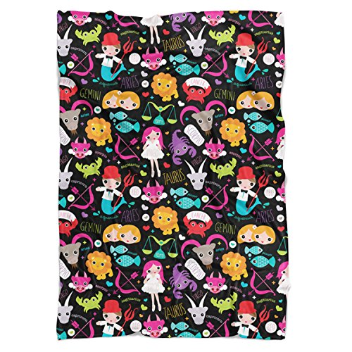 Cute Astrology Star Signs Fleece Blanket - Small Fleece Blanket 50x40in - Soft Faux Fur Throw