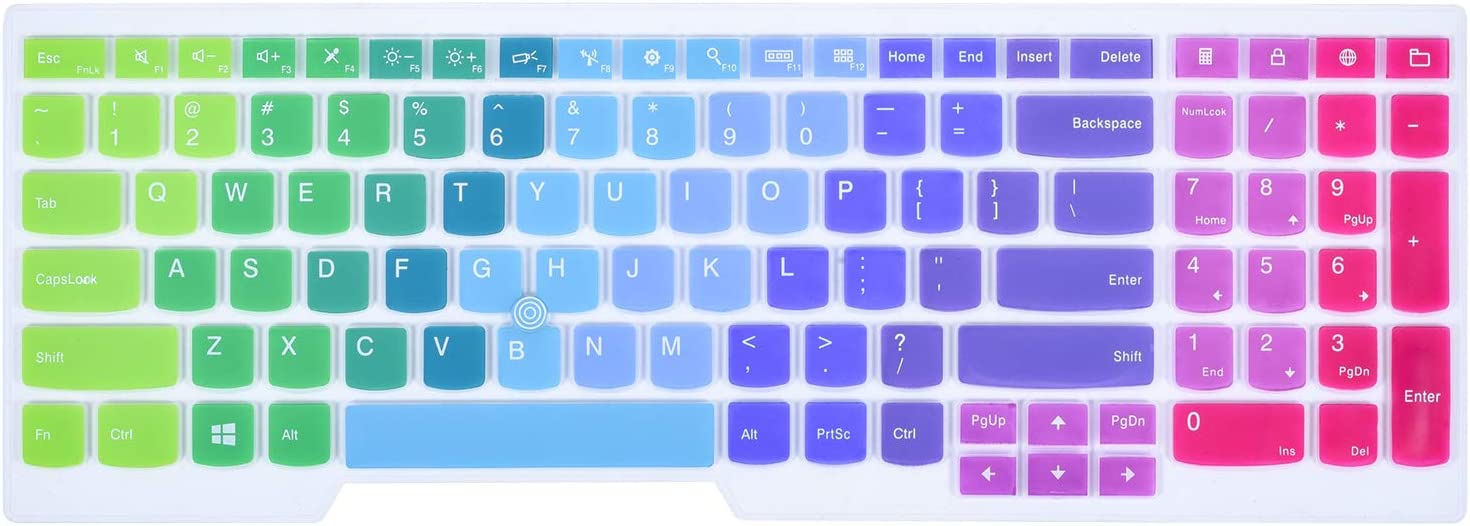 "Colorful Keyboard Cover Compatible 15.6"" Lenovo Thinkpad E531 E540 E550 E555 E560 E565 E570 E575 W540 W541 W550 W550s L560 L570 T550 T560 P50 P50s / Thinkpad P70 P71 17.3"", Rainbow"
