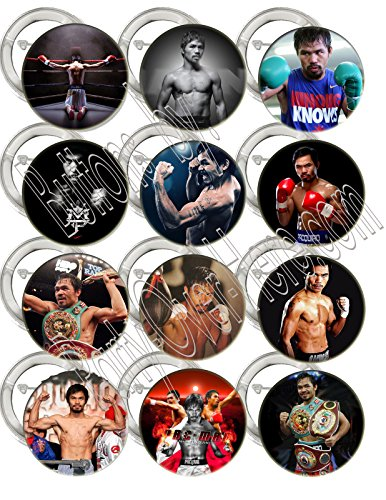 """(Manny Pacquiao Buttons Party Favors Supplies Decorations Collectible Metal Pinback Buttons Pins, Large 2.25"""" -12 pcs, Champion Boxer Pride of the Philippines Pac Man Filipino)"""