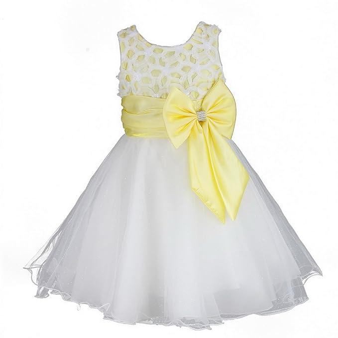 Discoball Vestido de niñas con flor de dama de honor, vestido de bautizo