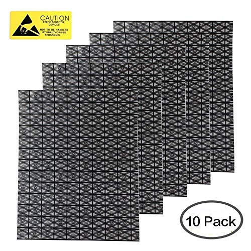 10 pcs Premium Open Top Antistatic Bag Large (12X16inches) ESD Shielding Anti Static Bags for Motherboard Video Card LCD Screen and Electronics Devices Computer PC Accessories with Anti Static Labels