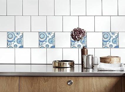 Adesivi per piastrelle cucina cerchi blu dimensioni della