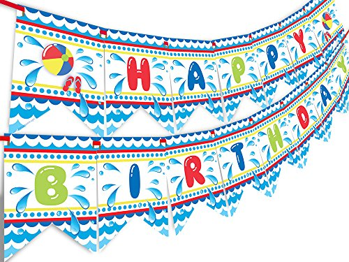 Pool Party Happy Birthday Banner - Pool Party Pennant - Classic]()