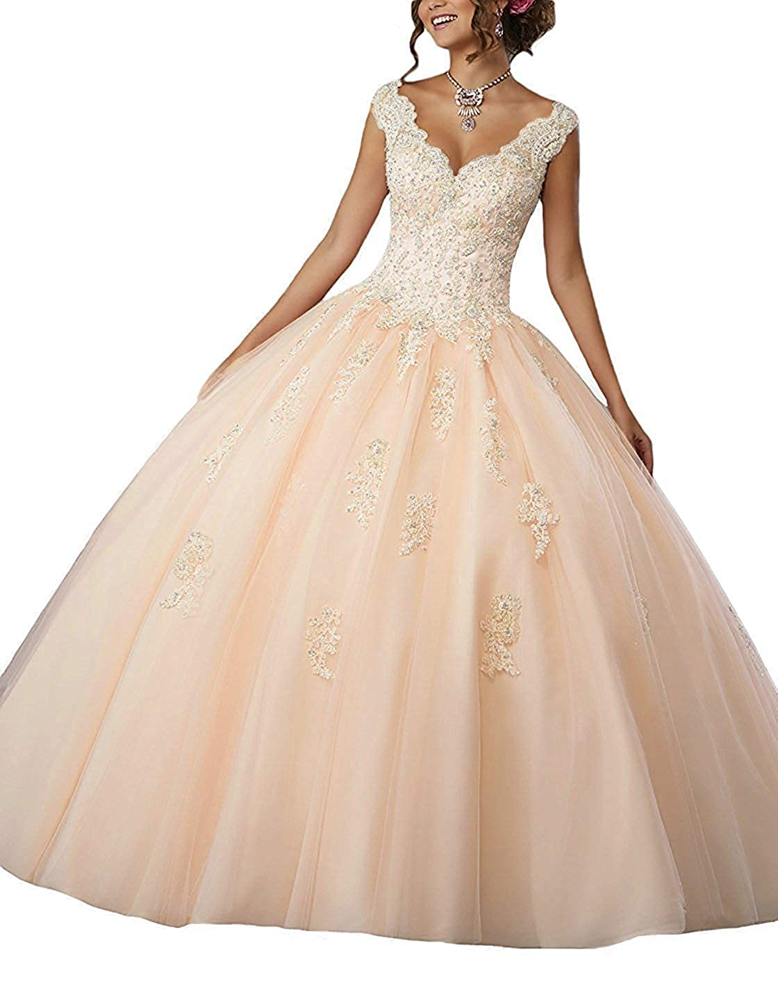 Champagne Sophie Girls' VNeck Ball Gown Beads Quinceanera Dress Lace Appliques Prom Gowns Sweet 16 S211