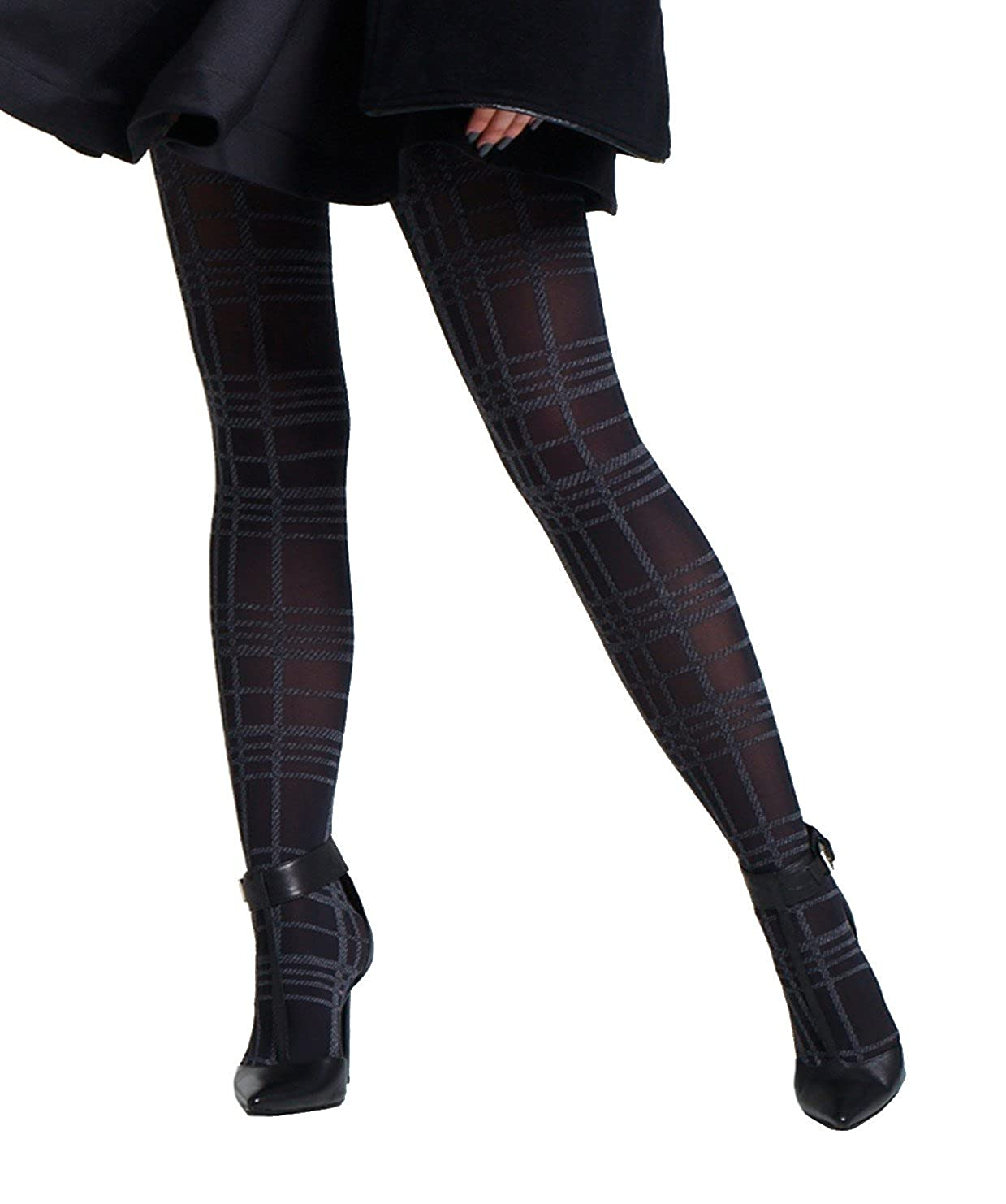 1 Pair Jonathan Aston Rewind Tartan Tights. Black-Grey. Winter opaque tights Jonathan Aston Hosiery