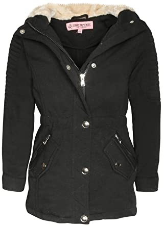 c2f97e6a3ac5 Amazon.com  Urban Republic Girls Fleece Fur Hooded Jacket (Little ...