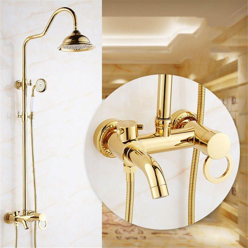 Gyps Faucet Waschtisch-Einhebelmischer Waschtischarmatur Badarmatur Die Goldenen Badewanne Dusche Wasserhahn Dusche an der Wand montiert die Messing Kopf- und Handbrause Booster Wasserhahn Dusche Sys