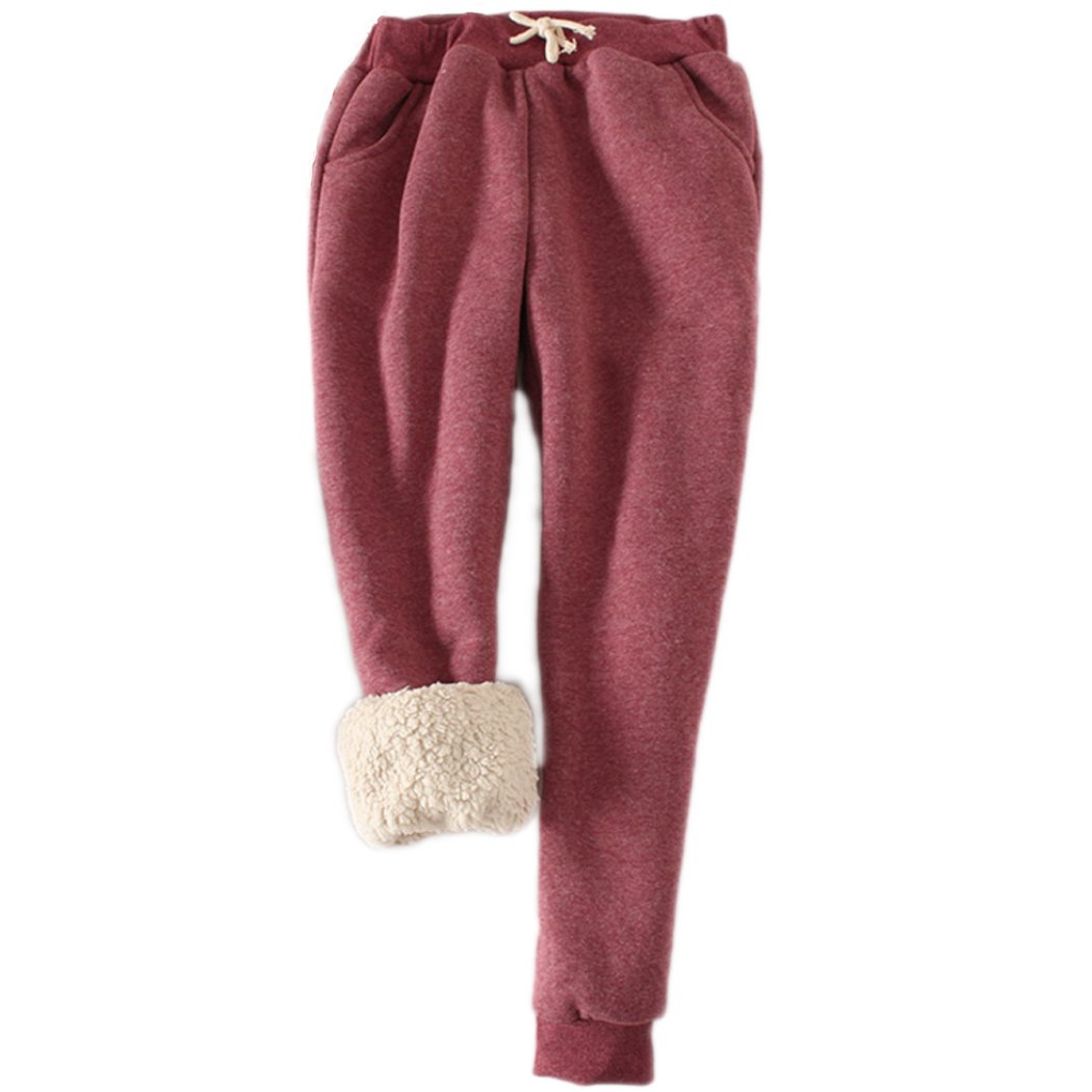 packitcute Women's Winter Casual Brushed Fleece Cotton Drawstring Sports Pants Harem Trousers (XL, Wine)