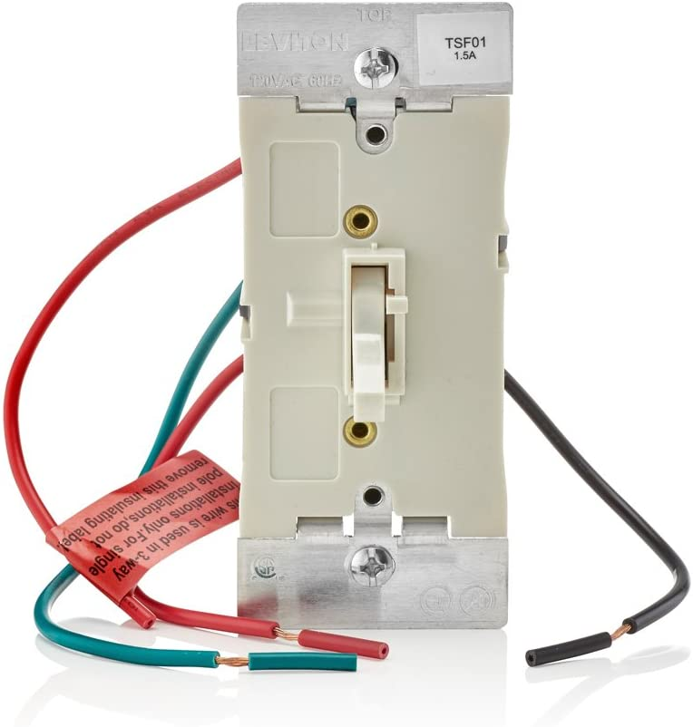 Leviton TSF01-10T Toggle Slide Fan Speed Control, 1.5 A-120VAC @ 60Hz, Single Pole or 3-way, Light Almond