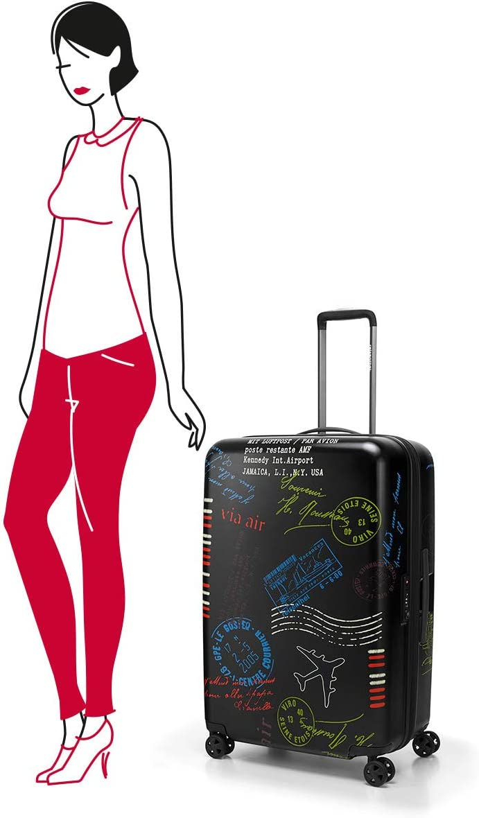 75 cm Stamps Reisenthel suitcase L special edition stamps Hand Luggage 95 liters Black