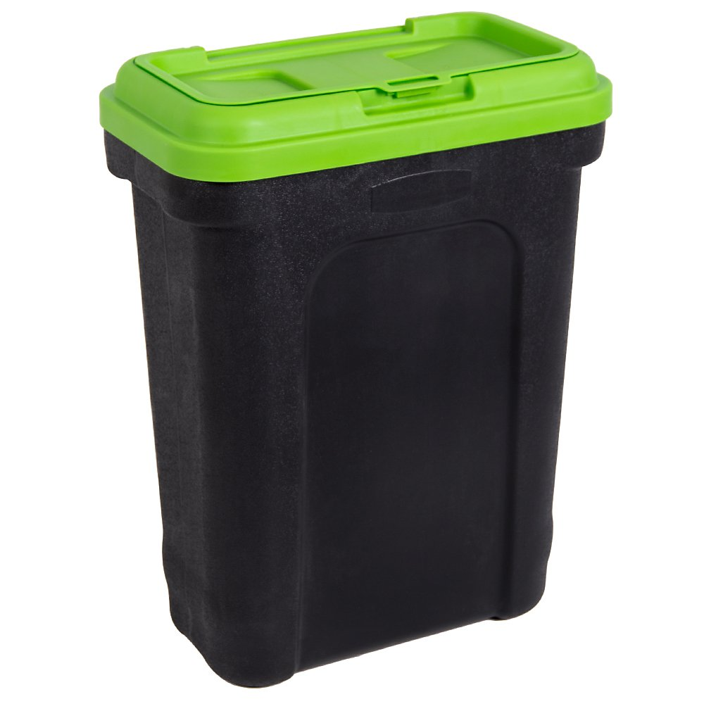 Home Discount Pet Food Storage Container With Scoop, Rubber Seal Bird Cat Dog Animal Litter Dry Box, Black & Green, Large