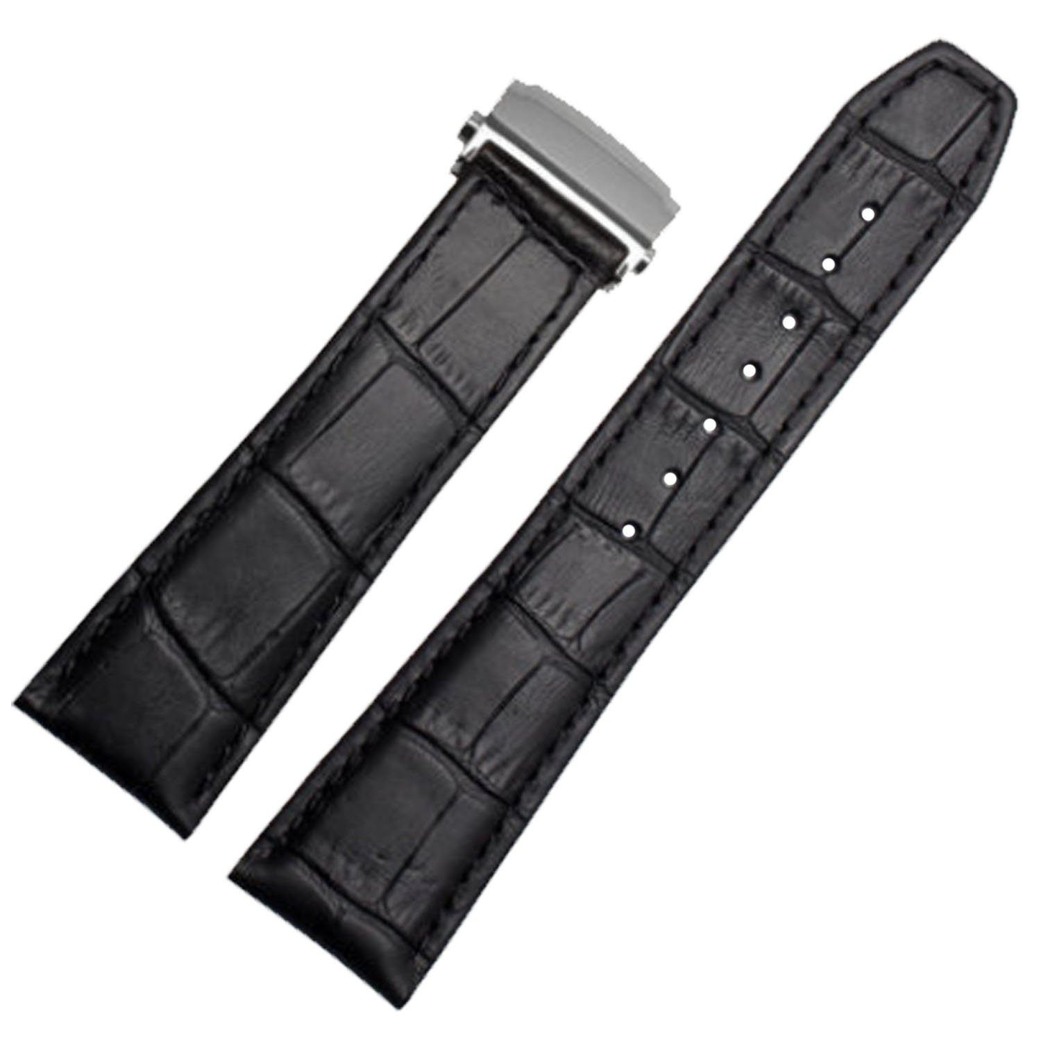 New 20mm 22mm Black Leather Watch Strap Band Deployment Clasp Compatible for Maurice Lacroix (22mm) by YMID