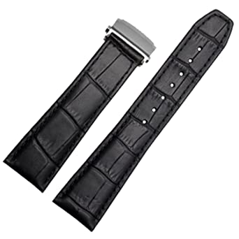 a6b3ceece316a New 20mm 22mm Black Leather Watch Strap Band Deployment Clasp Compatible  for Maurice Lacroix (22mm