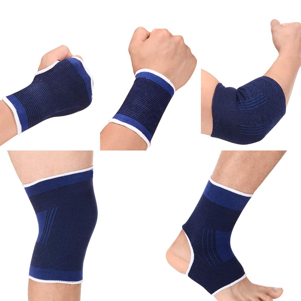 10 Pcs Kids Wrist Ankle Brace Knee Elbow Pad seits Hälfte Palm Protection Gloves Compression Knitted Arthritis Tendonitis Pain Relief Sock Protective Gear Satz für Cycling Exercise Gym Football