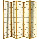 5 panel divider - Oriental Furniture 6 ft. Tall Window Pane Shoji Screen - Honey - 5 Panels
