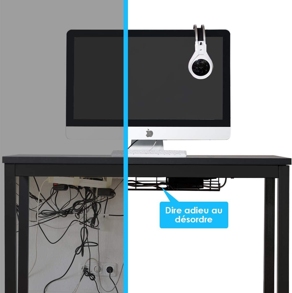 Noyer GOPLUS Bureau Informatique Table de lOrdinateur avec Range-C/âbles en M/étal 106,5 x 56 x 74CM Salon Cuisine Meuble de Bureau pour Ordinateur pour Salle /à Manger