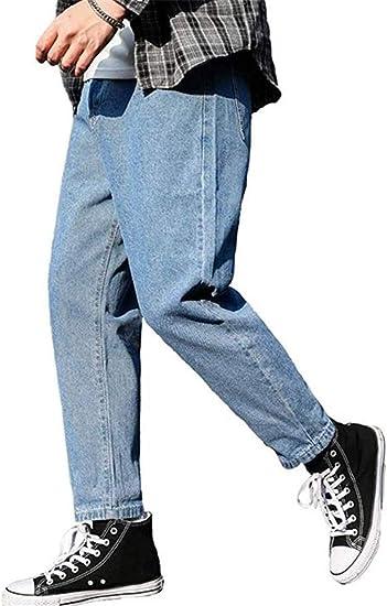 [ジンニュウ]デニムパンツ メンズ ジーパン ゆったり ワイドパンツ 袴パンツ ハロンパンツ 9分丈 テーパード ジーンズ