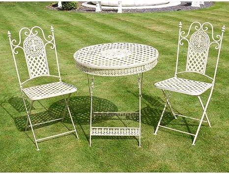 Antik Weiß Metall Tisch und zwei Stühle Garten Bistro Set